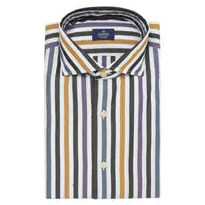 Orange, Purple and Black Cotton Classic Fit Shirt