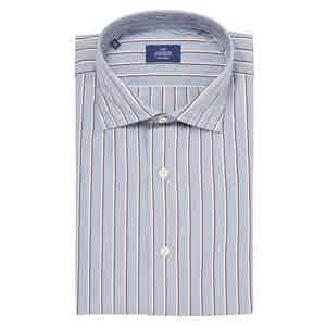 Blue and Grey Canclini Tessile Cotton Classic Fit Shirt