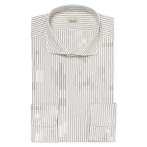 White Pinstriped Canclini Tessile Cotton Slim Fit Shirt