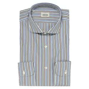 Blue and Brown Regimental Striped Two-Ply Cotton Shirt