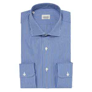 Blue and White Striped Two-Ply Cotton Shirt