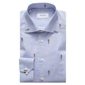 Blue Striped Cotton Slim Fit Shirt with Anubis Fil Coupé