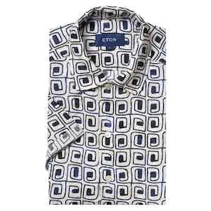 Beige Block Print Linen Resort Print Shirt