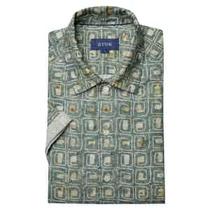 Green Block Print Linen Resort Print Shirt
