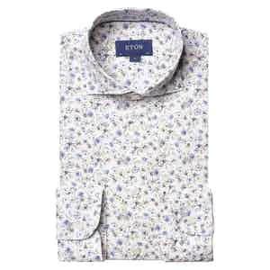 Off-White and Brown Blue Flourishing Floral Cotton Shirt
