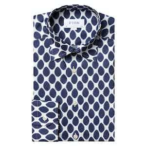 Navy Watercolour Dots Light Cotton Flannel Slim Shirt