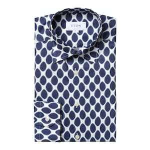 Navy Watercolour Dots Light Cotton Flannel Shirt