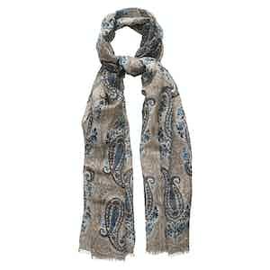 Beige Bold Paisley Cotton-Linen Foulard Scarf