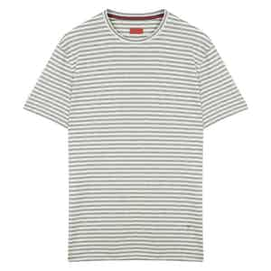 Grey and White Striped T-Shirt