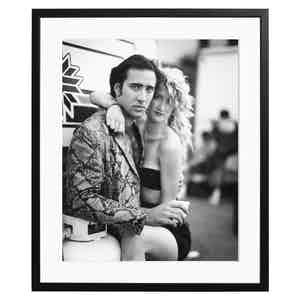 """Nick Cage and Laura Dern filming """"Wild at Heart,"""" 1989"""