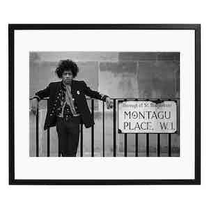 Jimi Hendrix at Montagu Place Hotel, London, 1967 Black and White Print