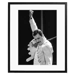 Freddie Mercury Performing at St. James Park, Newcastle Black and White Print
