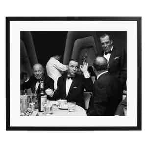 Frank Sinatra Give and 'OK' Sign at the Eden Rock Black and White Print