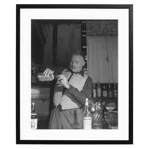 Ernest Hemingway Pouring Gordon's Gin Black and White Print