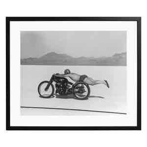 Roland Free Breaks World Speed Record Black and White Print