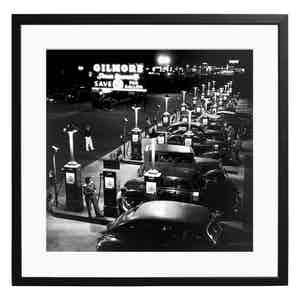 Girls at Gilmore Gas Station Black and White Print