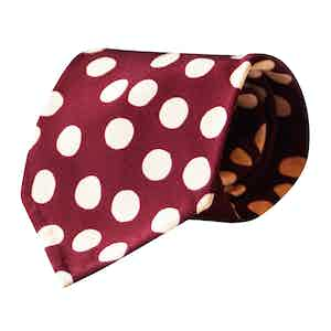 Burgundy and Cream Dots Vintage Silk Tie