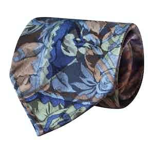 Green Lustrous Camouflage Vintage Silk Tie