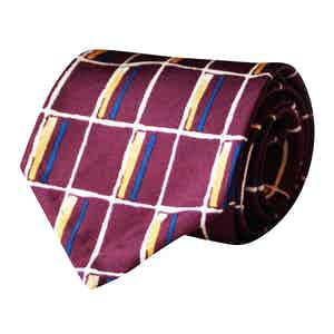 Blue, Yellow and Burgundy Checkerboard Vintage Silk Tie