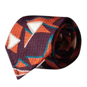 Brown,Orange,Blue Sixties Geometric Vintage Silk Tie