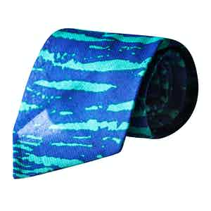 Blue and Green Zebra Striped Vintage Silk Tie
