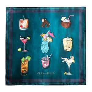 Petrol Blue Cocktail Hour Silk Square