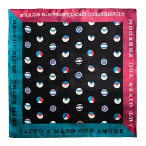 Black, Red and Turquoise Miami Dots Silk Square