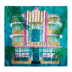 Turquoise and Yellow Art Deco Building Silk Square