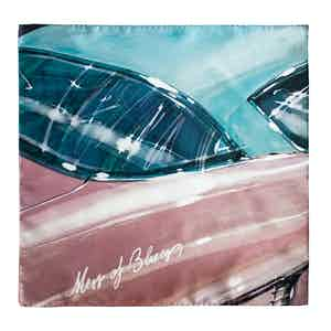 Faded Blue and Pink Vintage Car Silk Square