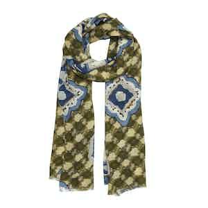 Beige and Blue Diamond Silk-Wool Cortina Scarf