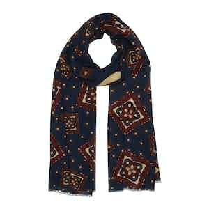 Burgundy and Navy Diamond Silk-Wool Cortina Scarf