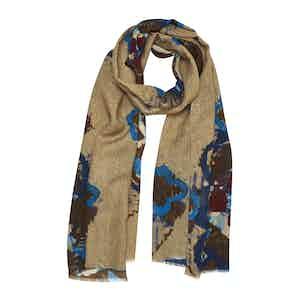 Sepia Beige and Blue Daisy-Print Wool Stelvio Scarf