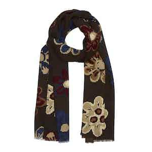 Brown, Cream and Burgundy Floral Wool Stelvio Scarf