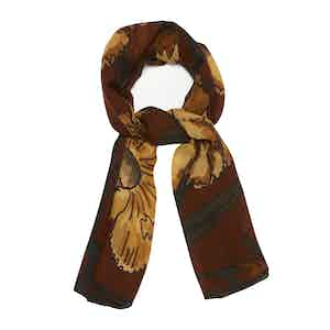 Yellow and Brick Red Floral Cashmere Livigno Scarf