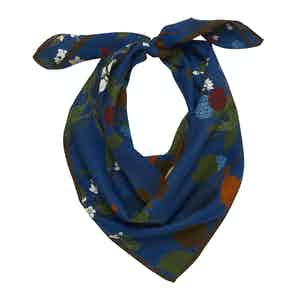 Blue, Grey and White Floral Cotton-Silk Cortina Scarf