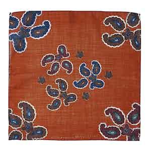Orange Wool Paisley-Print Canazei Pocket Square
