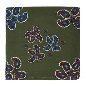 Green Wool Paisley-Print Canazei Pocket Square