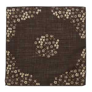 Brown Wool Micro-Floral Print Canazei Pocket Square