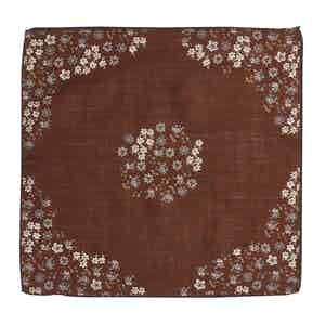 Rust Brown Wool Micro-Floral Print Canazei Pocket Square