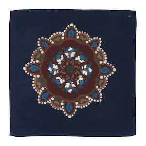Indigo Blue Wool Kaleidoscopic Canazei Pocket Square