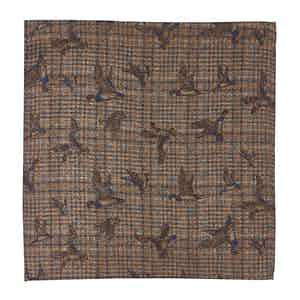Beige and Red Check, Bird and Floral-Print Wool Pocket Square