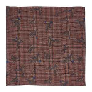 Brick Red Check, Bird and Floral-Print Wool Pocket Square