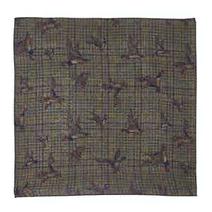 Blue and Green Check, Bird and Floral-Print Wool Pocket Square