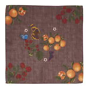 Brown Butterfly and Orange-Print Wool Pocket Square