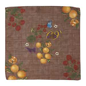 Light Brown Butterfly and Orange-Print Wool Pocket Square