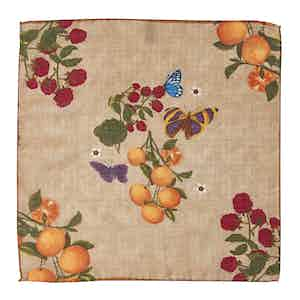 Beige Butterfly, Floral and Orange-Print Wool Pocket Square