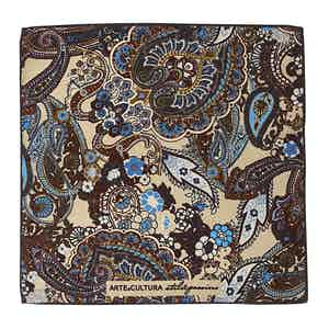 Cream and Blue Floral-Paisley Print Wool Pocket Square
