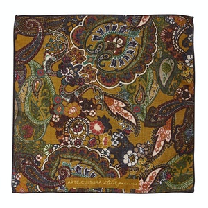 Light Brown and Pink Floral-Paisley Print Wool Pocket Square
