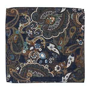 Brown and Teal Floral-Paisley Print Wool Pocket Square