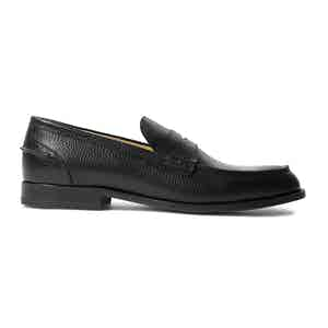 Black Grained Calfskin Leather Penny Loafers